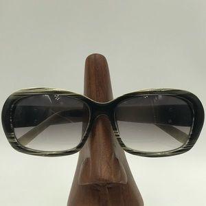 Liz Claiborne LC80620 Black/White Oval Sunglasses